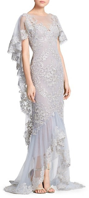 Marchesa Metallic Corded Lace Ruffle Sleeve Gown