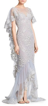 Marchesa Metallic Corded Lace Ruffle Sleeve Gown