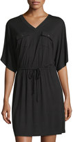 Neiman Marcus Dolman-Sleeve Military-Style Jersey Dress, Black