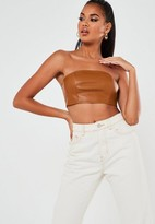 Missguided Brown Faux Leather Bandeau Top
