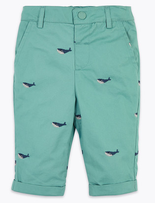 Marks and Spencer Cotton Whale Embroidered Chino Shorts (0-3 Yrs)