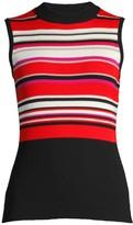 Elie Tahari Clover Striped Rib-Knit Top