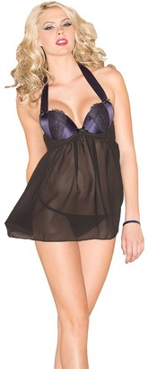 Be Wicked Women's Sheer Babydoll with Eyelash Lace Detail and Lace Thong