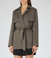 Reiss Nadia - Relaxed Belted Mac in Green, Womens