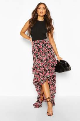boohoo Floral Layered Ruffle Hem Maxi Skirt