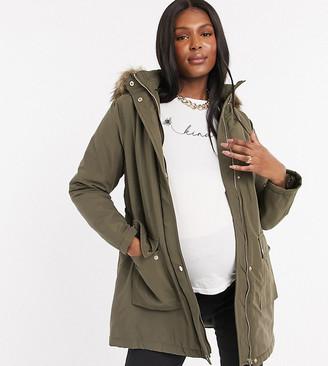 New Look Maternity longline parka in khaki