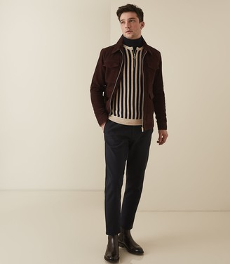 Reiss Jasper - Striped Zip Neck Jumper in Black/camel