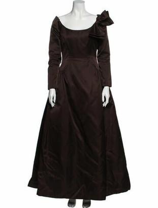 Oscar de la Renta Scoop Neck Long Dress Brown