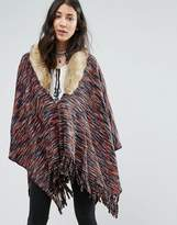 Raga On The Hunt Poncho With Faux Fur Collar