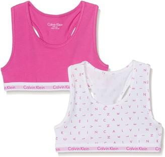 Calvin Klein Girl's Modern Cotton (lg) 2 Pack Bralette Print Lingerie Set