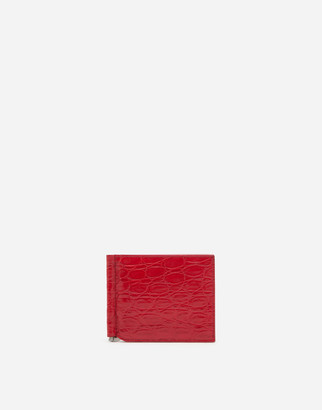 Dolce & Gabbana Crocodile Skin Bifold Wallet With Money Clip