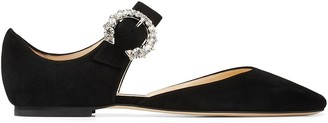 Jimmy Choo Gin crystal-buckle flats