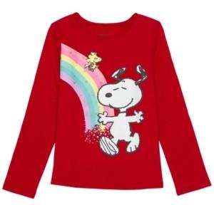 Disney Little Girls Snoopy Rainbow Long Sleeve Tee