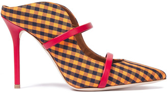 Malone Souliers Maureen 100 Leather-trimmed Gingham Woven Mules
