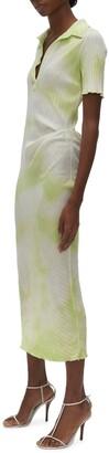 Helmut Lang Tie Dye Rib Cotton Polo Dress