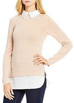 Daniel Cremieux Caitie Mix Media Sweater with Beaded Collar