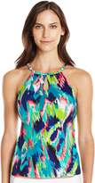 Caribbean Joe Women's the Bluff High Neck Underwire Tankini with Cut Outs