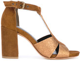 Strategia T-bar metallic sandals - women - Leather/Suede - 37