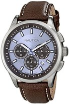 Nautica Men's N16694G NCT 17 Stainless Steel Watch With Brown Faux-Leather Band