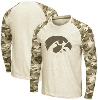 Colosseum Men's Oatmeal Iowa Hawkeyes OHT Military Appreciation Desert Camo Raglan Long Sleeve T-Shirt