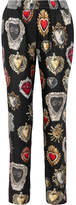 Dolce & Gabbana Printed Silk-twill Straight-leg Pants - Black