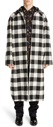 Balenciaga Hooded Zip Check Coat