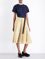 Sacai Pleated poplin and metallic shirt dress