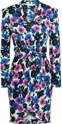 Veronica Beard Burma Wrap-effect Floral-print Stretch-silk Jacquard Mini Dress