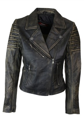 Aviatrix Ladies Women Genuine Real Leather Slim Fit Brown Biker Jacket