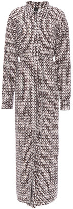 Norma Kamali Belted Printed Stretch-jersey Shirt Dress