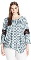 NY Collection Women's Plus Size Prt 3/4 Slv Asymmetical Top with Crochet At Arm