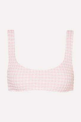 Solid & Striped The Elle Gingham Seersucker Bikini Top - Baby pink