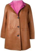 Etro contrast lapel buttoned coat - women - Lamb Skin - 40