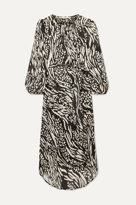 Veronica Beard Mavis Animal-print Silk-chiffon Midi Dress - Black