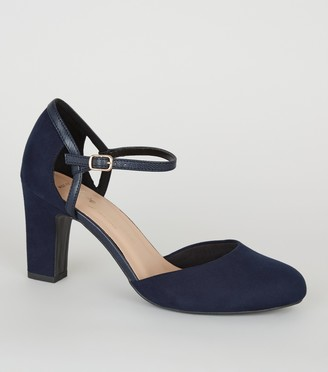 New Look Wide Fit Suedette 2 Part Court Shoes