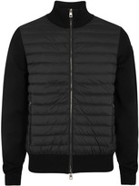 Moncler Black Shell And Cotton Blend Jacket