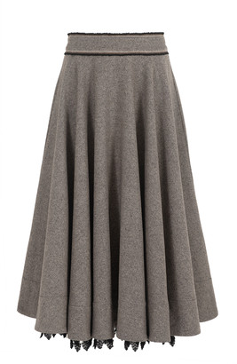 Nevenka The Close Circle Lace-Trimmed Wool-Blend Full Midi Skirt