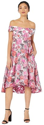 Adrianna Papell High-Low Off-the-Shoulder Jacquard Midi Dress (Pink Multi) Women's Dress