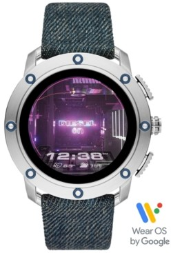 Diesel Tech Men's Axial Denim Blue Fabric Strap Touchscreen Smart Watch 48mm, Powered by Wear Os by Google