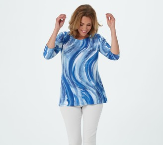 Belle By Kim Gravel Abstract Print 3/4-Sleeve Knit Top