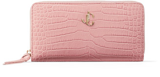 Jimmy Choo PIPPA Blush Croc-Embossed Leather Wallet with JC Emblem