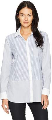 NYDJ Women's Cotton Poplin Mixed Stripe Blouse