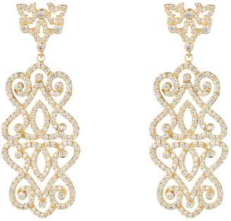 Latelita Regal Rose Statement Drop Earrings White Gold