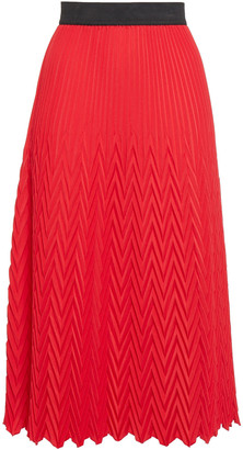Maje Pleated Crepe De Chine Midi Skirt