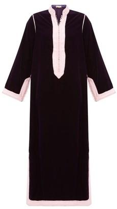 Muzungu Sisters - Alia Woven-trim Velvet Tunic Dress - Dark Pink