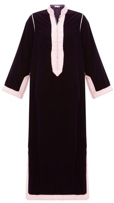 Muzungu Sisters - Alia Woven-trim Velvet Tunic Dress - Womens - Dark Pink