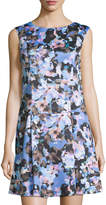 Cynthia Steffe V-Back Floral-Print Dress, Rich Black