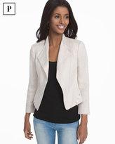 White House Black Market Petite Bracelet Sleeve Linen Moto Jacket