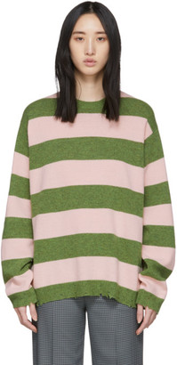Marc Jacobs Green and Pink Wool Grunge Sweater