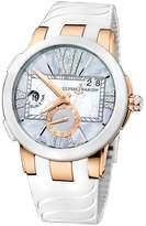 Ulysse Nardin Executive Dual Time Lady Grey Mother Of Pearl Dial Rubber Strap Automatic Ladies Watch